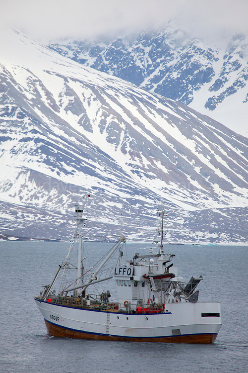 Norwegian Whaling ship and fishing vessel in Kongsfjorden, Svalbard