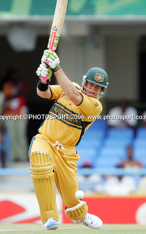 Australian opening batsman Matthew Hayden hits a boundaryduring the Super 8 Cricket World Cup match, West Indies vs Australia at the Sir Vivian Richards Cricket Ground in Antigua, West Indies on Tuesday 27 March 2007. Photo: Andrew Cornaga/PHOTOSPORT<br /><br /><br />270307