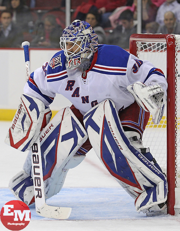 Nov 5, 2010; Newark, NJ, USA;  New York Rangers goalie Henrik Lundqvist (30) gets set for action during the third period of their game against the New Jersey Devils at the Prudential Center. The Rangers defeated the Devils 3-0.