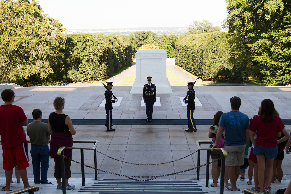 The Tomb of the Unknown Soldier is guarded 24 hours a day, seven days per week by the sentinels of the Old Guard at Arlington National Cemetery.