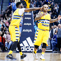 18 November 2016: Denver Nuggets guard Jameer Nelson (1) is congratulated by Denver Nuggets guard Emmanuel Mudiay (0) during the Toronto Raptors 113-111 OT victory over the Denver Nuggets, at the Pepsi Center, Denver, Colorado, USA.