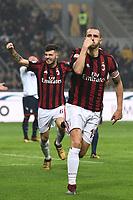 esultanza gol Leonardo Bonucci goal celebration<br /> Milano 06-01-2018 Stadio Giuseppe Meazza in San Siro Football Calcio Serie A 2017/2018 Milan - Crotone Foto Image Sport / Insidefoto
