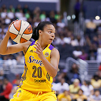 24 July 2014: Los Angeles Sparks guard Kristi Toliver (20) dribbles during the Phoenix Mercury 93-73 victory over the Los Angeles Sparks, at the Staples Center, Los Angeles, California, USA.