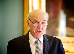 """Rt Hon Vince Cable MP at the Institute of Directors, London, Great Britain, 15th April 2013..""""No More than we deserve. The rights & wrongs of high & low pay """"..Presented by the High Pay Centre and the Resolution Foundation...Vince Cable MP ...John Vincent """"Vince"""" Cable (born 9 May 1943) is a British Liberal Democrat politician who has been the Secretary of State for Business, Innovation and Skills since 2010 and the Member of Parliament for Twickenham since 1997, 15 April 2013. Photo by: Elliott Franks / i-Images"""