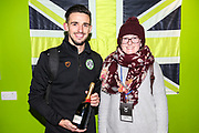 Forest Green Rovers Liam Shephard(2) is presented with the man of the match award by the match sponsor during the EFL Sky Bet League 2 match between Forest Green Rovers and Grimsby Town FC at the New Lawn, Forest Green, United Kingdom on 22 January 2019.