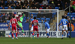Brandon Hanlan of Gillingham sees his header hit the crossbar - Mandatory by-line: Joe Dent/JMP - 11/01/2020 - FOOTBALL - Weston Homes Stadium - Peterborough, England - Peterborough United v Gillingham - Sky Bet League One