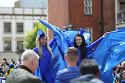 There is a carnival atmosphere developing during the Premier League match between Chelsea and Sunderland at Stamford Bridge, London, England on 21 May 2017. Photo by John Potts.