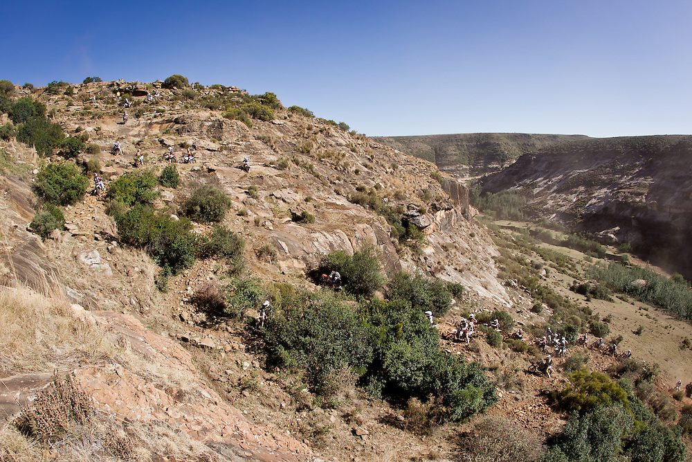 Riders make their wat out of the river bed during the 44th running of the Roof of Africa enduro held in Lesotho.