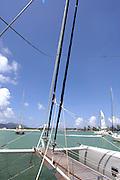 January 30, 2006 - A sailboat on the Seychelles Islands. The Seychelles Islands archipelago, situated in the western Indian Ocean, consists of 115 islands with a total surface of 453 square kilometers spread over a large ocean area of over one million square kilometers. The central islands are granitic. Others are coral islands and some atolls are present as well. ©Jean-Michel Clajot