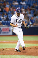 May 9, 2017 - St. Petersburg, Florida, U.S. - WILL VRAGOVIC   |   Times.Tampa Bay Rays starting pitcher Matt Andriese (35) after getting out of the top of the fourth inning  of the game between the Kansas City Royals and the Tampa Bay Rays at Tropicana Field in St. Petersburg, Fla. on Tuesday, May 9, 2017. (Credit Image: © Will Vragovic/Tampa Bay Times via ZUMA Wire)