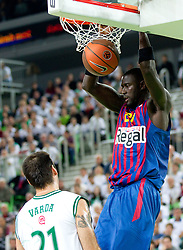 Boniface Ndong of FC Barcelona Regal during basketball match between KK Union Olimpija and FC Barcelona Regal of 1st Round in Group D of Regular season of Euroleague 2011/2012 on October 20, 2011, in Arena Stozice, Ljubljana, Slovenia. (Photo by Vid Ponikvar / Sportida)