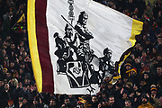 Supporters of Roma show a flag during the UEFA Europa League, Group J football match between AS Roma and Wolfsberg AC on December 12, 2019 at Stadio Olimpico in Rome, Italy - Photo Federico Proietti / ProSportsImages / DPPI