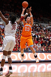 Dec 20, 2011; Stanford CA, USA;  Tennessee Lady Volunteers forward Alicia Manning (15) shoots over Stanford Cardinal forward Nnemkadi Ogwumike (30) during the first half at Maples Pavilion.  Stanford defeated Tennessee 97-80. Mandatory Credit: Jason O. Watson-US PRESSWIRE