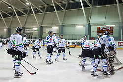 Players of HDD Telemach Olimpija during ice hockey match between HK Playboy Slavija and HDD Telemach Olimpija in semi-final of Slovenian Cup, on November 10, 2015  in Ledena Dvorana Zalog, Ljubljana, Slovenia. Photo by Urban Urbanc / Sportida
