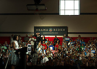 First Lady Michelle Obama visits Laconia Middle School Thursday, August 2, 2012.  (Karen Bobotas/for the Laconia Daily Sun)