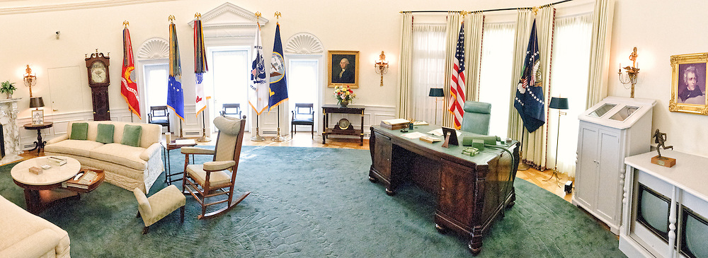 Panorama of a replica of President Lyndon B. Johnson's Oval Office, display as part of the LBJ Museum in Austin, Texas.