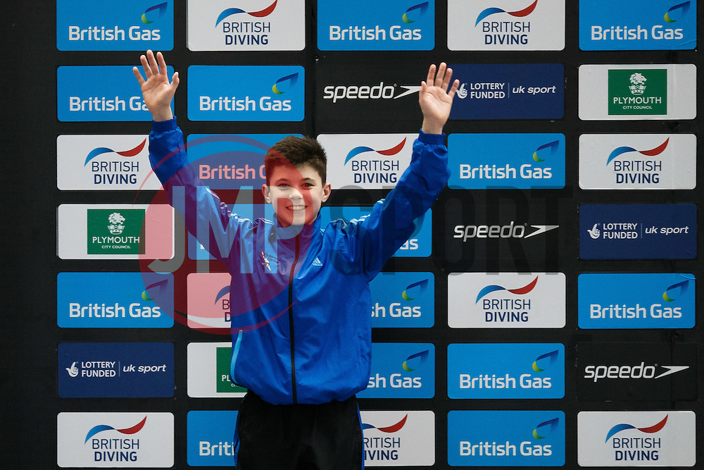 Matthew Dixon of Plymouth Diving celebrates on the podium after winning Silver in the Mens 10m Platform Final - Photo mandatory by-line: Rogan Thomson/JMP - 07966 386802 - 22/02/2015 - SPORT - DIVING - Plymouth Life Centre, England - Day 3 - British Gas Diving Championships 2015.