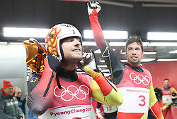 PYEONGCHANG, Feb. 14, 2018  Champion Tobias Wendl (R) and Tobias Arlt from Germany celebrate after finishing men's doubles event of luge at 2018 PyeongChang Winter Olympic Games at Olympic Sliding Centre, PyeongChang, South Korea, Feb. 14, 2018. Tobias Wendl and Tobias Arlt claimed champion in a time of 1:31.697. (Credit Image: © Li Gang/Xinhua via ZUMA Wire)
