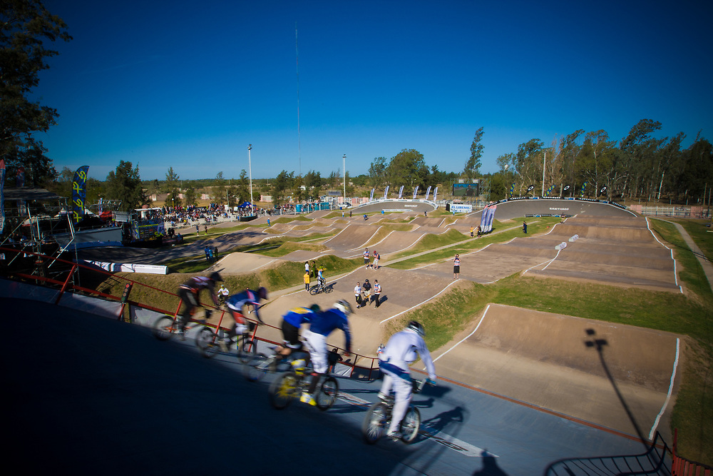 Riders on the start ramp during the first practice round at the UCI BMX Supercross World Cup in Santiago del Estero, Argintina.