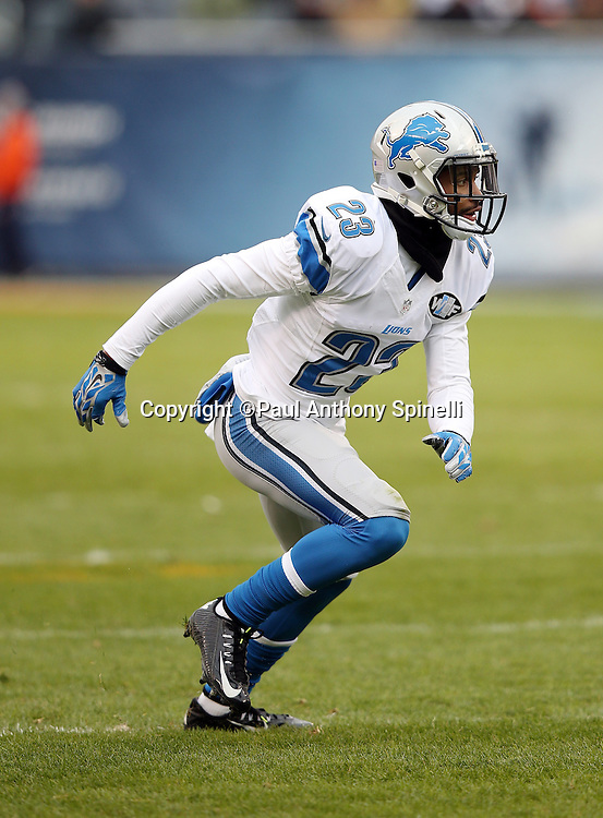 Detroit Lions cornerback Darius Slay (23) chases the action during the NFL week 17 regular season football game against the Chicago Bears on Sunday, Jan. 3, 2016 in Chicago. The Lions won the game 24-20. (©Paul Anthony Spinelli)