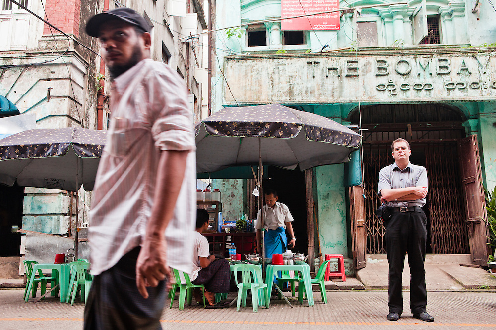 "Tony Picon in front of former office of Bombay Printing Company in'""little India, ""Yangon, Myanmar."