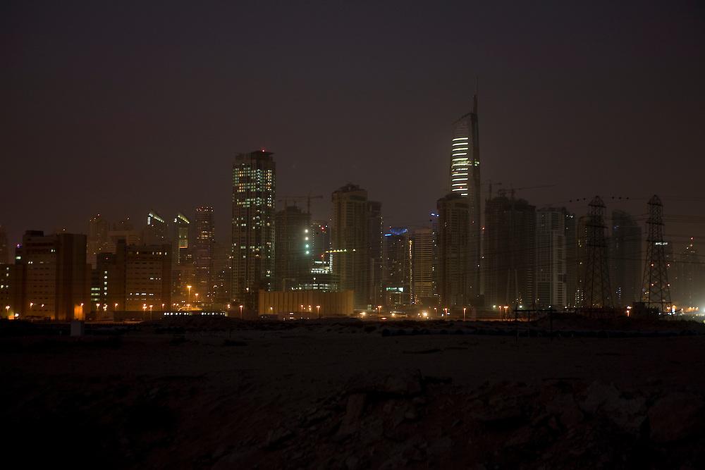 Dubai . .Dubai Recent development along  Sheikh Zayed Road entering Dubai from  Abu Dhabi