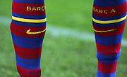 A detailed view of a player wearing Barcelona socks. Barcelona v Osasuna (0-1), La Liga, Nou Camp, Barcelona, 23rd May 2009.