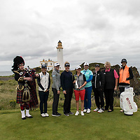 Picture by Christian Cooksey/CookseyPix.com.<br /> Ricoh Women's British Open. The Champions photo call at the Turnberry lighthouse  ahead of the Ricoh Women's British Open.LtoR Piper Bryce McCulloch, Lydia Ko , Paula Creamer,, Charley Hull, Mo Martin, Shanshan feng, Catriona Mathew, Dame Laura Davies and Michelle Wie. Repro fee payable. Credit CookseyPix.com