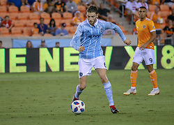 August 4, 2018 - Houston, TX, U.S. - HOUSTON, TX - AUGUST 04:  Sporting Kansas City midfielder Ilie Sanchez (6) dribbles the ball during the soccer match between Sporting Kansas City and Houston Dynamo on August 4, 2018 at BBVA Compass Stadium in Houston, Texas.  (Photo by Leslie Plaza Johnson/Icon Sportswire) (Credit Image: © Leslie Plaza Johnson/Icon SMI via ZUMA Press)