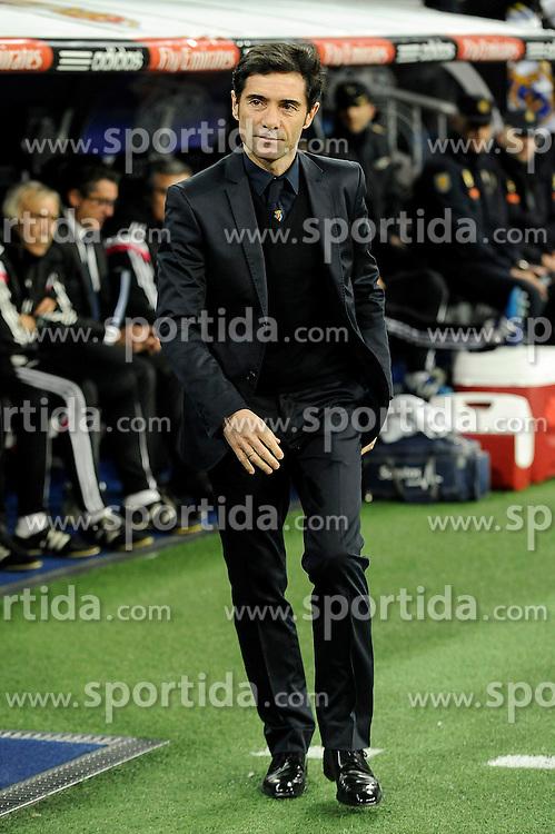 01.03.2015, Estadio Santiago Bernabeu, Madrid, ESP, Primera Division, Real Madrid vs FC Villarreal, 25. Runde, im Bild Villarreal CF&acute;s coach Marcelino Garcia // during the Spanish Primera Division 25th round match between Real Madrid CF and Villarreal at the Estadio Santiago Bernabeu in Madrid, Spain on 2015/03/01. EXPA Pictures &copy; 2015, PhotoCredit: EXPA/ Alterphotos/ Luis Fernandez<br /> <br /> *****ATTENTION - OUT of ESP, SUI*****