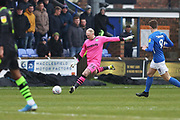 Conrad Logan in action during the EFL Sky Bet League 2 match between Macclesfield Town and Forest Green Rovers at Moss Rose, Macclesfield, United Kingdom on 25 January 2020.