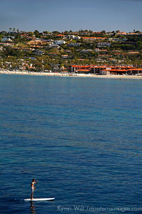 USA, California, La Jolla. SUP Boarder and La Jolla Shores in San Diego.