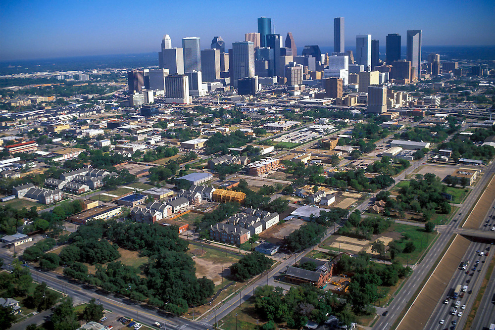 Aerial view of the downtown Houston, Texas skyline during the afternoon.