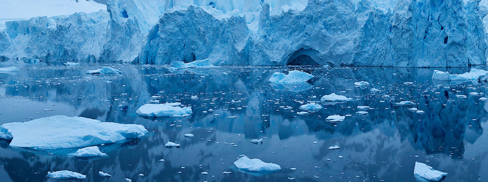 Ice fields and glacier in Antarctica.