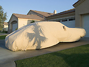 covered car parked in a driveway with palm tree shadow.