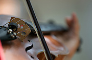 Close-up of violin, bow, bridge, fine tuners and strings as played by mararchi.