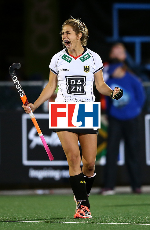 JOHANNESBURG, SOUTH AFRICA - JULY 18:  Marie Mavers of Germany celebrates at the final whistle during day 6 of the FIH Hockey World League Women's Semi Finals quarter final match between Germany and South Africa at Wits Univesity on July 18, 2017 in Johannesburg, South Africa.  (Photo by Jan Kruger/Getty Images for FIH)