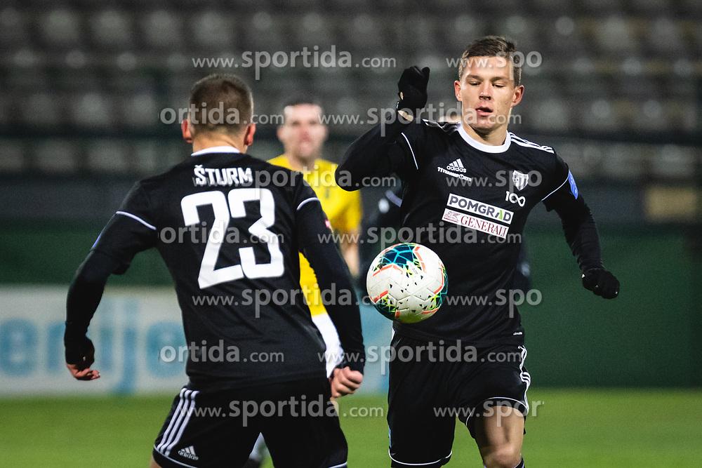 Klemen Šturm of Mura and Jon Šporn of Mura during football match between NŠ Mura and NK Bravo in 20th Round of Prva liga Telekom Slovenije 2019/20, on December 5, 2019 in Fazanerija, Murska Sobota, Slovenia. Photo by Blaž Weindorfer / Sportida