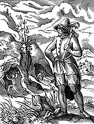 The Miner: In background man is working at rockface, while another wheels trolley out of mine.  Woodcut by Jost Amman. 16th century