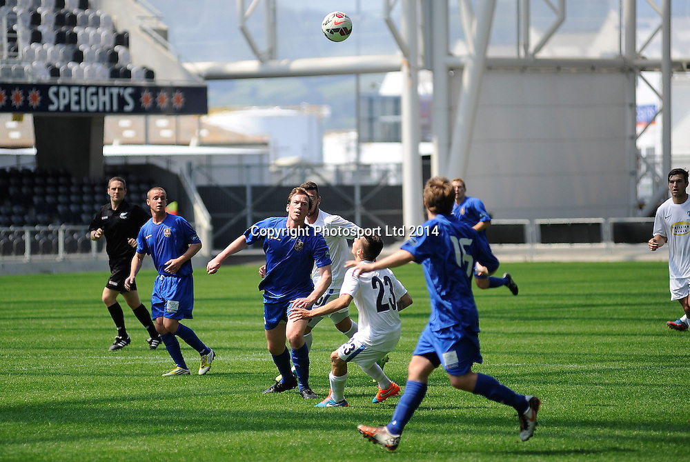 Players look for the ball during the ASB Football Premiership, Southern v Auckland, 25 October 2014, Forsyth Barr Stadium Dunedin,  New Zealand. Photo: Richard Hood/photosport.co.nz