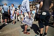 Frankfurt am Main | 17 July 2014<br /> <br /> Solidarit&auml;tsdemo f&uuml;r Israel, f&uuml;r Frieden und f&uuml;r das Ende der Angriffe der Hamas auf dem Opernplatz vor der Alten Oper in Frankfurt am Main, hier: Plakat &quot;Israel muss sich verteidigen&quot;. <br /> <br /> &copy; peter-juelich.com