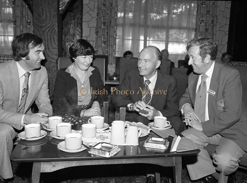 President Hillery at The Community Games..1979..15.09.1979..09.15.1979..15th September 1979..President Patrick Hillery attended the opening of The National Community Games finals at Mosney, Co Meath today. The finals were held in the grounds of The Butlins Holiday Centre and were sponsored by Tayto Irl Ltd,Greencastle Road,Coolock,Dublin..Kevin Masterson, his wife Laura , President Hillery and William Walshe pictured  relaxing with a cup of tea at the games in Mosney..