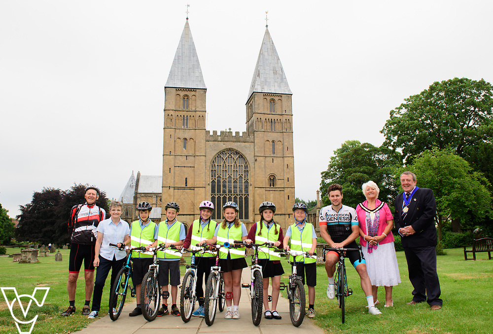 Nottinghamshire will host stage four of the 2017 OVO Energy Tour of Britain in September.  The route starts in Mansfield and finishes in Newark, passing Southwell Minster en route.  Matt Cronshaw of the Madison Genesis Team was at Southwell Minster to promote the event.<br /> <br /> Picture: Chris Vaughan Photography<br /> Date: June 20, 2017