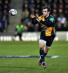 Stephen Myler(Northampton) looks to receive the ball - Photo mandatory by-line: Patrick Khachfe/JMP - Tel: Mobile: 07966 386802 07/12/2013 - SPORT - RUGBY UNION -  Franklin's Gardens, Northampton - Northampton Saints v Leinster - Heineken Cup.