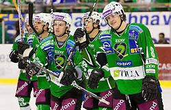 Anze Ropret, Egon Muric of Tilia Olimpija and Jure Kralj of Tilia Olimpija after the ice-hockey match in 33rd Round of EBEL league between HDD Tilia Olimpija Ljubljana and EC KAC, Klagenfurt, on December 18, 2009, in Arena Tivoli, Ljubljana, Slovenia. Olimpija defeated KAC 4:2. (Photo by Vid Ponikvar / Sportida)