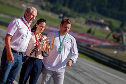 30.06.2019, Red Bull Ring, Spielberg, AUT, FIA, Formel 1, Grosser Preis von Österreich, In Erinnerung an Niki Lauda wurde in Spielberg vor den Rennen die erste Kurve des Red Bull Rings in Niki-Lauda-Kurve umbenannt worden, im Bild v.l.: Dr. Helmut Marko (AUT, Red Bull Racing), Lukas Lauda, Birgit Laud // f.l.: Red Bull Racing Motorsport Consultant Dr. Helmut Marko (AUT) Lukas Lauda Birgit Laud during in memory of Niki Lauda, the first turn of the Red Bull Ring in Niki-Lauda-Kurve was renamed Spielberg before the races for the Austrian FIA Formula One Grand Prix at the Red Bull Ring in Spielberg, Austria on 2019/06/30. EXPA Pictures © 2019, PhotoCredit: EXPA/ Dominik Angerer