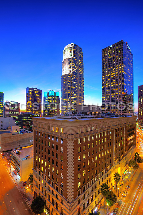 Vertical Photo Of Downtown LA Skyline At Dusk