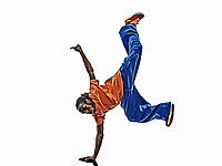 one hip hop acrobatic break dancer breakdancing young man handstand silhouette white background