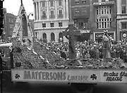The St. Patrick's Day Parade in Dublin. The Mastersons Limerick float evoked special praise during the N.A.I.D.A. Industrial Parade..17.03.1962