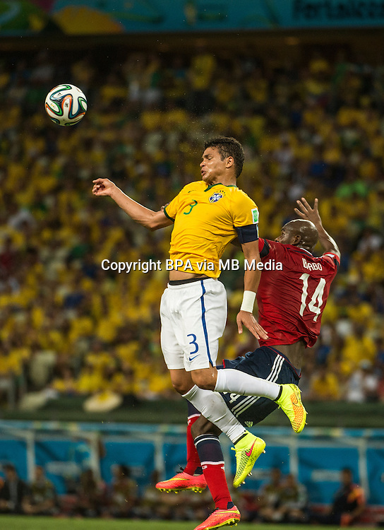 Thiago Silva. Brazil v Colombia, quarter-final. FIFA World Cup Brazil 2014. Castelao stadium, Fortaleza. 4 July 2014.